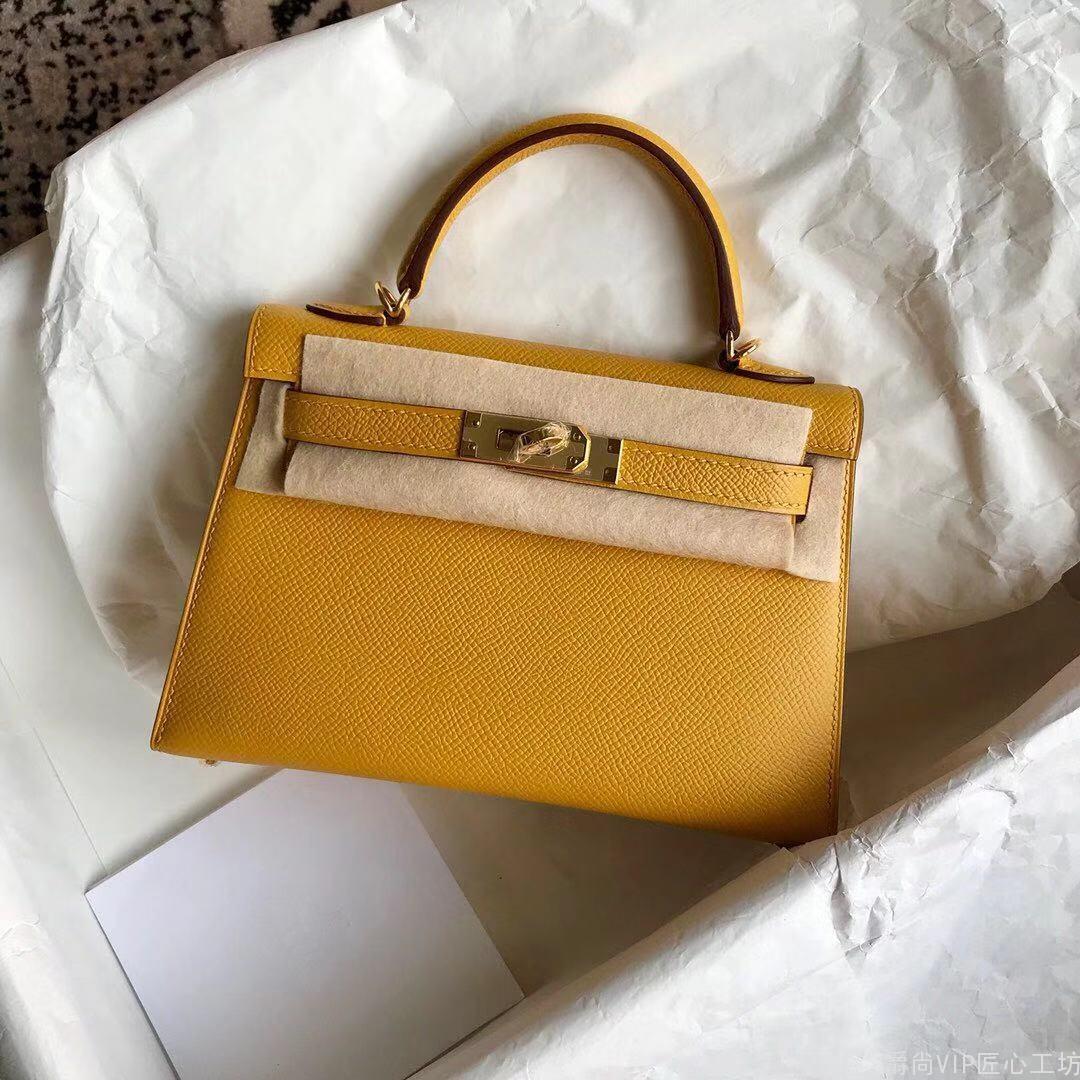 顶级原单奢侈品货源 Kelly Mini二代   9D琥珀黄   金扣  蜡线纯手缝