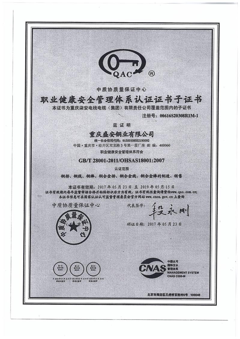 职业健康安全管理体系认证证书-盛安