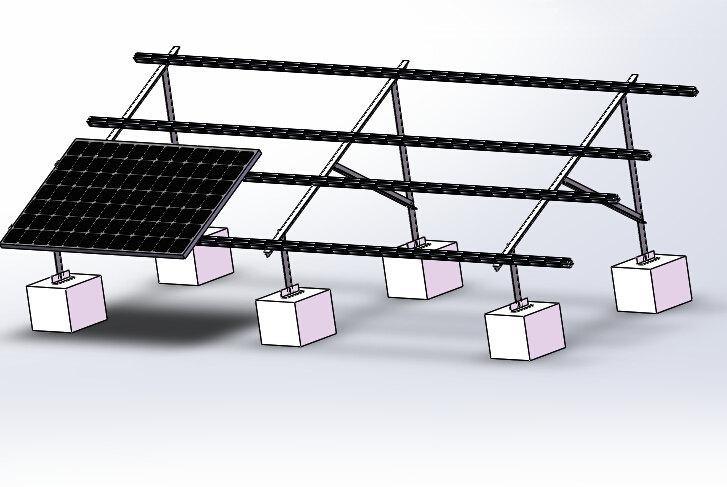 贵州地区平屋面威廉体育app角铝光伏(双排)  固定方式