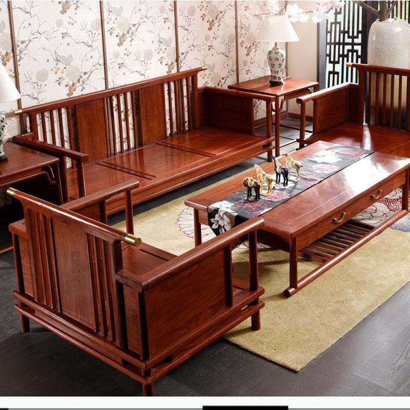 新中式实木沙发组合